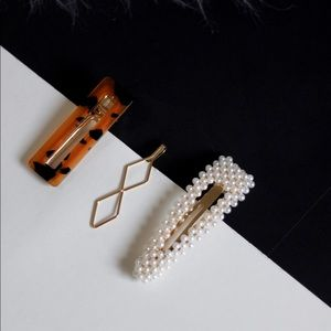 Set of 3 Tortoise Shell, Pearl, Gold Geo Hair Clip